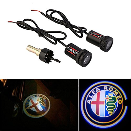 WONFAST For ALFA ROMEO Car Auto Laser Projector Logo Illuminated Emblem Under Door Step courtesy Light Lighting symbol sign badge LED Glow Performance
