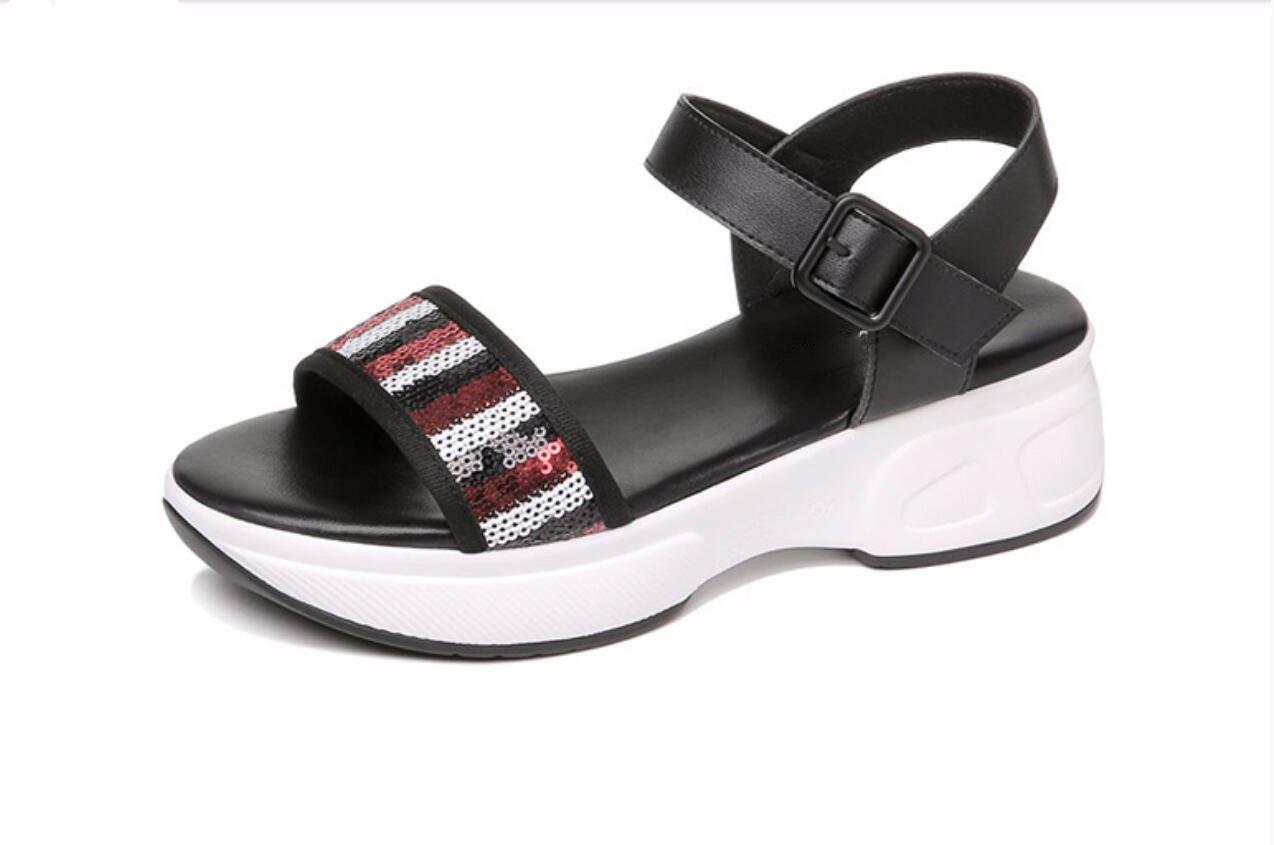 Noir GTVERNH Chaussures pour Femmes Chaussures d'été Sandales De Sport L'été à Fond Plat La Pente des Talons Mesdames Joker épais Bas Muffin Chaussures Forty