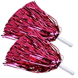 ICObuty Metallic Cheerleading Pom Poms Foil Fluffy 12 inch 2 Pack NO Sheddingfor Sport Squads Dance Hen Party Stage Performance Celebration (Hot Pink)