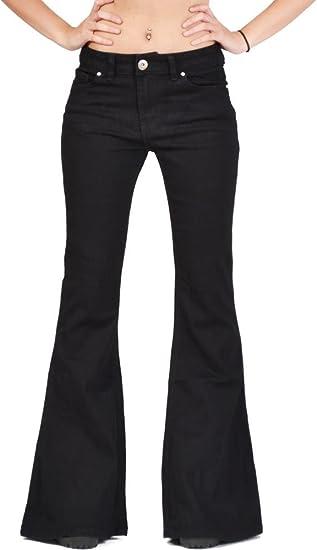 TALLA 36. Glamour Outfitters Vaqueros Acampanados para Mujer Jeans de Campana Estilo Flare - Negro