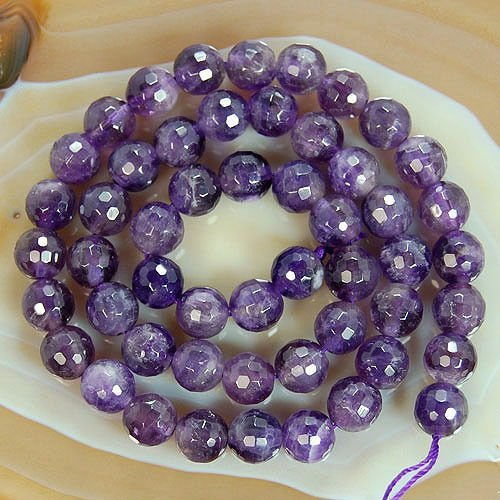 Round Faceted Amethyst Gemstone Beads (8mm)