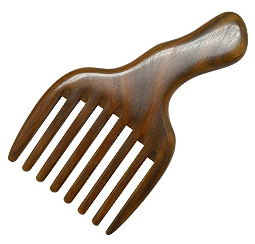 (Meta-C Hair/Beard Pick/Comb - Made Of One Whole Piece Of Natural Green Sandal Wood With Fantastic Handle (Wide Tooth))