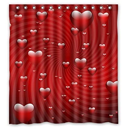 Valentine Series Custom Waterproof Fabric Bathroom Romantic Red Love Hearts Shower Curtain 36x72inch