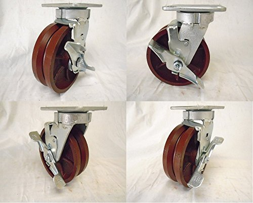 6-X-2-Swivel-Caster-Kingpinless-78-V-groove-with-Brake-Ductile-Steel-Wheel-4-1500-Lbs
