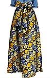 XQS Womens Fashion Africa Print Bow Bandage Loose Big Hem Dashiki Maxi Skirts 12 2XL