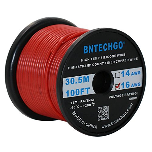 BNTECHGO 16 Gauge Silicone Wire Spool Red 100 feet Ultra Flexible High Temp 200 deg C 600V 16 AWG Silicone Rubber Wire 252 Strands of Tinned Copper Wire Stranded Wire for Model Battery Low Impedance