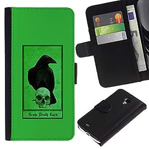 KingStore / Leather Etui en cuir / Samsung Galaxy S4 Mini i9190 / Cuervo Cuervo verde cráneo Pájaro Oscuro