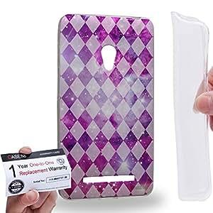 Case88 [Asus Zenfone 5] Gel TPU Carcasa/Funda & Tarjeta de garantía - Art Aztec Design Galaxy Overlay Pink Mix Art0782