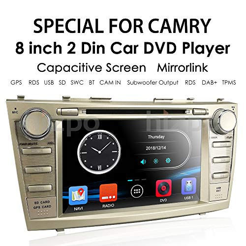 hizpo in Dash 8 Inch Double Din Touch Screen Navigation GPS Car Stereo for for Toyota Camry 2007 2008 2009 2010 2011 AM FM Radio DVD Player Bluetooth SWC