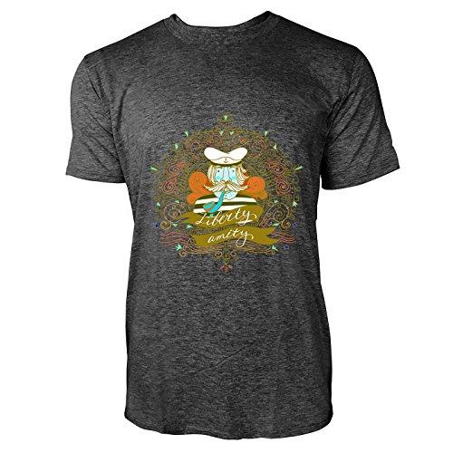 SINUS ART® Alter Seemann mit Pfeife Herren T-Shirts in dunkelgrau Fun Shirt mit tollen Aufdruck