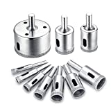 10Pcs Diamond Drill Bit Set, 8-50mm Glass Tile Hollow Core Extractor Remover Tools Diamond Hole Saw for Glass Ceramics Porcelain Ceramic Tile by Jelbo