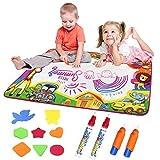 JIMITE Aqua Magic Mat Water Drawing Pad 6 Colors Magic Water Painting Board Doodle Mat Toys Kids 34 X 22 inches