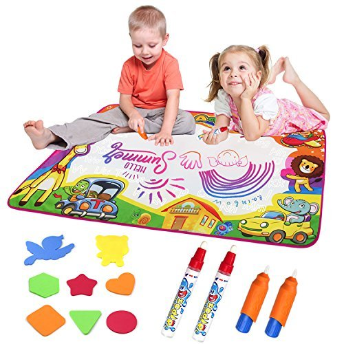 JIMITE Aqua Magic Mat Water Drawing Pad 6 Colors Magic Water Painting Board Doodle Mat Toys Kids 34 X 22 inches