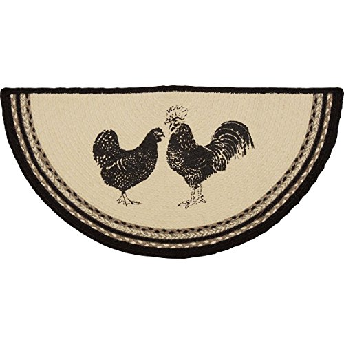 White Country Rug - VHC Brands 38044 Farmhouse Flooring Miller Farm Charcoal Poultry Jute Stenciled Nature Print Half Circle Rug, One Size, Bleached White