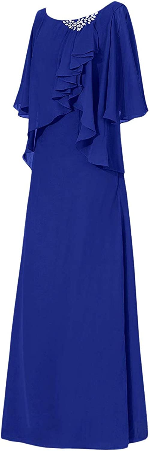 Chiffon Mother of The Bride Dresses Long Evening Formal Dress Pleated Bride Mother Dress with Sleeves Plus Size