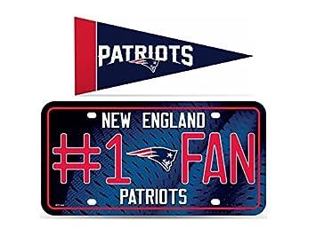993dd773 New England Patriots NFL #1 Fan Metal License Plate & Mini Pennant ...