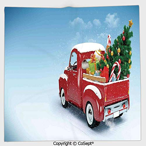 AmaUncle Long-Lasting and Soft Square Towel,Red Classical Pickup Truck with Tree Gifts and Ornaments Snowy Winter Day Image Decorative,for Men Women(19.68x19.68 inch),Blue Red