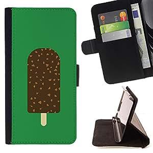 BullDog Case - FOR/Samsung Galaxy S5 V SM-G900 / - / ICE CREAM GREEN CHOCOLATE SWEET /- Monedero de cuero de la PU Llevar cubierta de la caja con el ID Credit Card Slots Flip funda de cuer