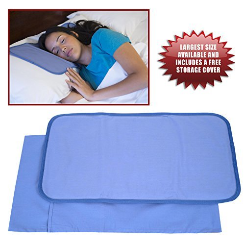 Frosty Cooling Pillow Gel Mat + STORAGE COVER - Large Adult Size (12.5 x 22 inches) - Best Cold Pad for Night Sweats, Migraines, Hot Flashes, Fevers, Neck Pain with No-Leak Flexible Soft Design Angel Direct Products
