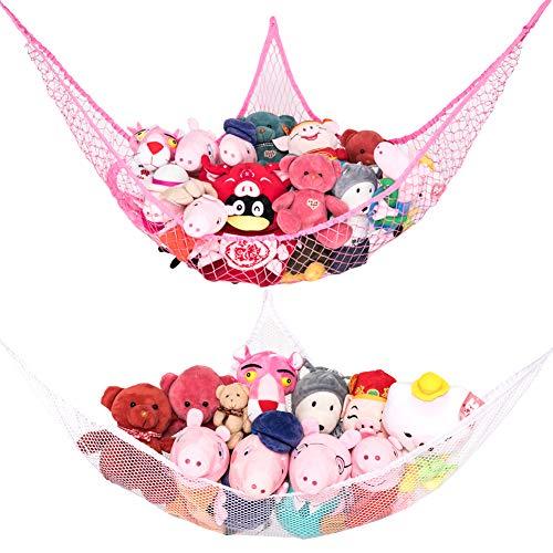 Toy Hammock, Stuffed Animal Toy Storage Hammock Net, Goodhelper 70 inch Extra Large Jumbo Mesh Toy Net, Wall Sling Corner Mesh Nets for Kids Toys (Pink White 2 Pack)