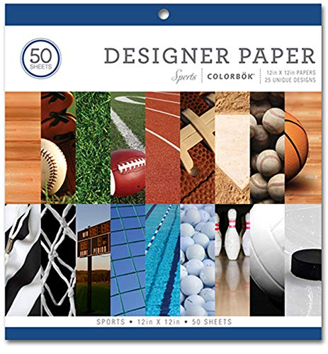 Colorbok Sports Designer Scrapbooking and Craft Paper 12x12