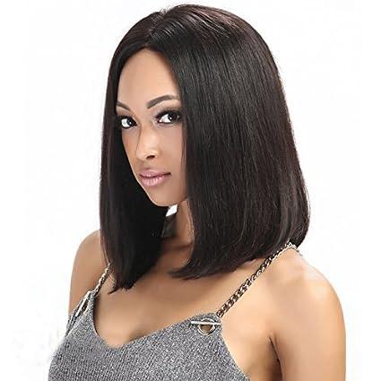 eseewigs 100% pelo humano Lace Front Peluca Corto Recto Bob Pelucas Para negro womennatural negro