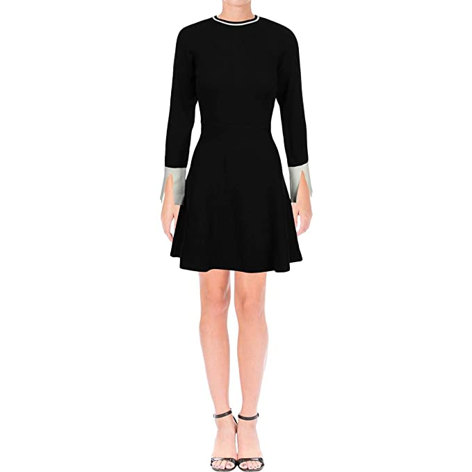 05f5f657572f4 Vince Camuto Specialty Size Womens Petite Long Sleeve Split Cuff Flared  Sweater Dress at Amazon Women s Clothing store