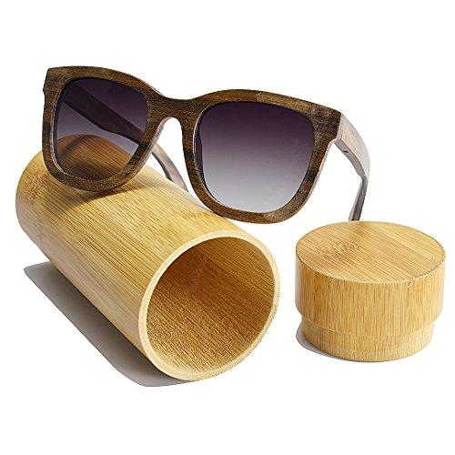 BEWELL Lunettes amp; de Mixte UV400 Femme Vintage Homme Polarisées Wooden Soleil Bois Sunglasses Retro Lunettes Adulte BK Lunettes Pure Sports G003A r6T1qrn
