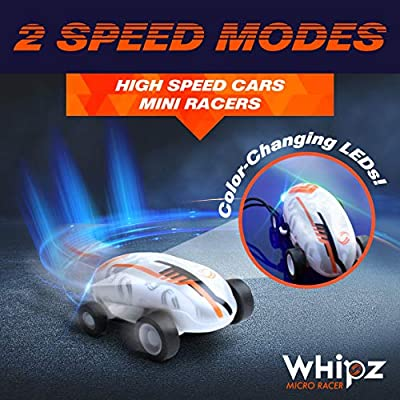 USA Toyz Whipz Micro Racers Toy Cars for Kids - Mini LED Car, High Speed Pocket Racer, Glow in The Dark Car Spinner, Keychain Car with Stunt Ball: Toys & Games