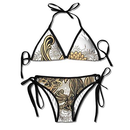 Fashion Women Gold Koi Carp With Lotus And Waves Printing Sexy Two-Piece Bikini Set Beach Bathing - Gold Bottom White Top Sunglasses