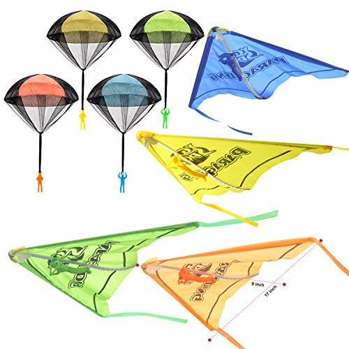 JOYIN 8 Pack 2 in 1 Glider and Parachute Toy Set