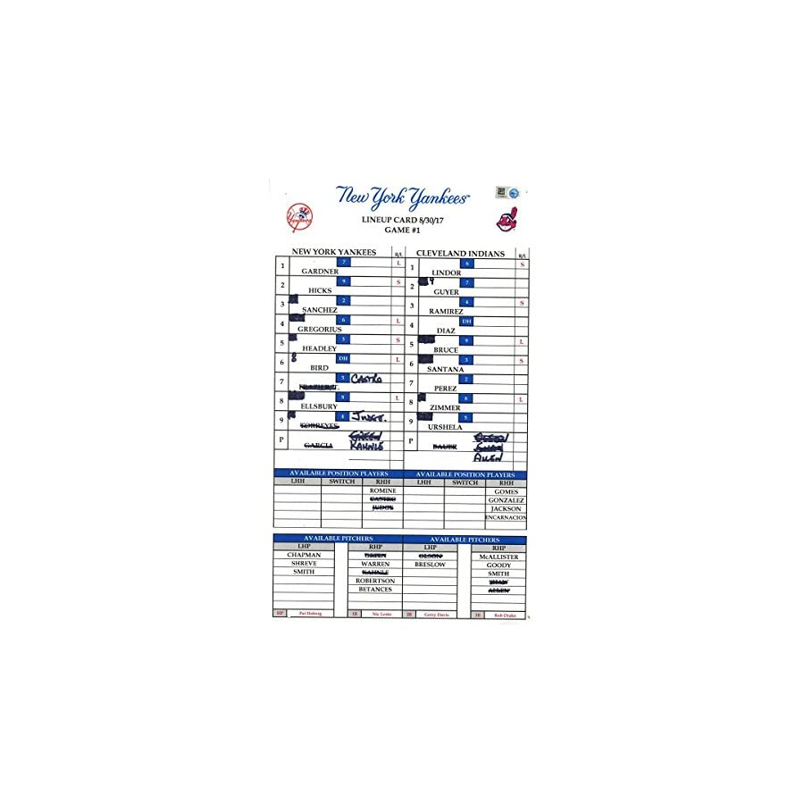 Cleveland at Yankees 8 30 2017 Game #1 Game Used Lineup Card (JB849974)