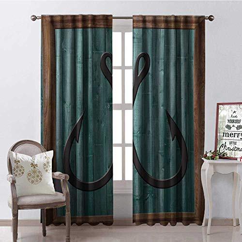 (Hengshu Blue Wood Gra Anchor Room Darkening Wide Curtains Waterproof Window Curtain W108 x L84)