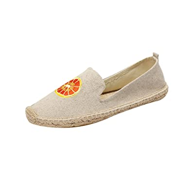 Jitong Bestickt Flache Espadrilles für Frauen Sommer Low-Top Slippers Geschlossene Zehe Freizeit Loafers (Blau #2, Asien 38)