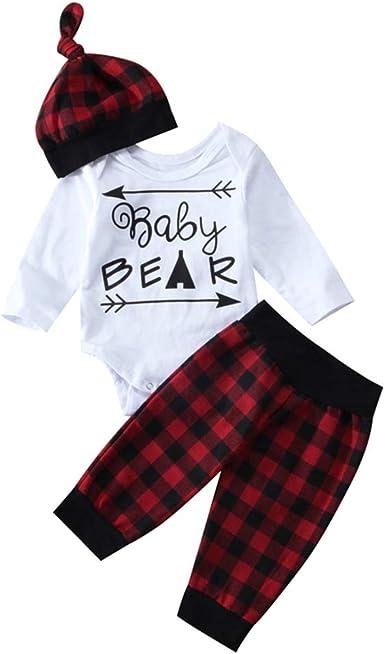 US Newborn Baby Boy Girl Romper Bodysuit Pants Leggings Hat 3Pcs Clothes Outfits