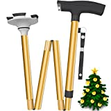 Foldable Walking Cane with Led Light on Handle and Pivot Base Quad Tips for All Terrain Grip - Men & Women Confidently Travel with this Adjustable Stick - Easy Folding, Pack Small, Lightweight (Gold)
