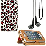 VanGoddy Mary Self Stand Case Cover for Apple iPod Touch 5 Generation and Apple iPhone SE / 5 / 5S / 5C Generation + Vangoddy Deluxe Hands-Free Headphones (Leopard)