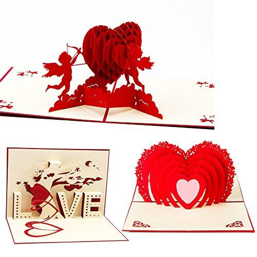 DECORA 3 Set 3D Pop up Love Heart Greeting Cards for Wedding (3d Card Heart)