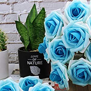 Marry Acting Artificial Flower Rose, 30pcs Real Touch Artificial Roses for DIY Bouquets Wedding Party Baby Shower Home Decor (Gradual Flower Blue) 3