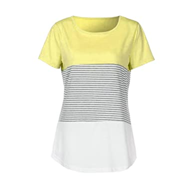 nuevo estilo 2d1e2 a92d7 Cinnamou Camiseta para Mujer, Verano Camisetas Cortas Manga Corta Mujer  Rayas Patche Color Camisas de Mujer Camisas Casual Blusas Tops T-Shirt 2018  ...