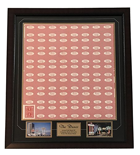 """DUNES LAS VEGAS"" UNCUT POKER CARD SHEET COLLAGE FRAME HOTEL PLAYING CARDS STRIP from Inscriptagraphs"