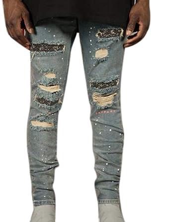 Huateng Pantalones de Mezclilla para Hombre Agujeros Rotos ...