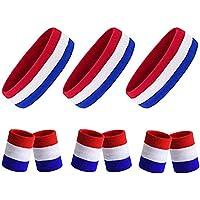 TOBWOLF Sports zweetbanden, 9 stuks. Hoofdband en armbanden, sportief katoen, badstof, zweetband voor tennis, basketbal…