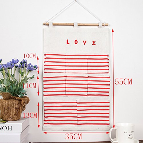 Storage Bag Dormitory/Bedroom Fabric Stripe Wall-Mounted Storage Bag, 01 by SEESUNG (Image #2)