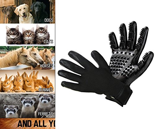 Pet Grooming Glove - Hair Remover Brush for Dogs, Cats & Horses with Long Short Fur | Gentle & Breathable Massage Bathing Brush Tool with Enhanced Five Finger Design by Pet Pet (Image #1)