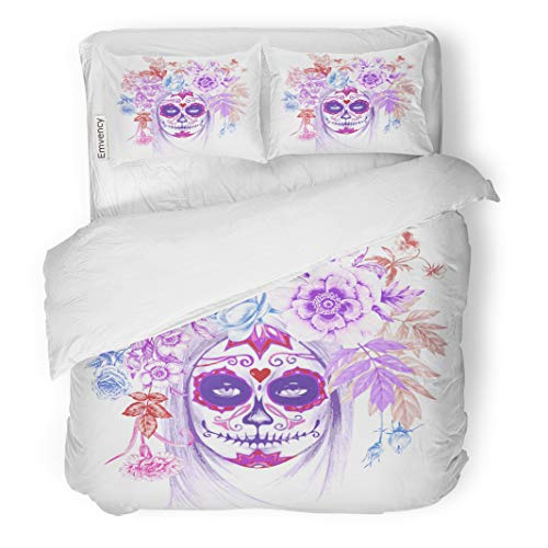 Semtomn Decor Duvet Cover Set King Size Dead on Vintage Girl and Flowers Day Skull Pattern 3 Piece Brushed Microfiber Fabric Print Bedding Set Cover ()