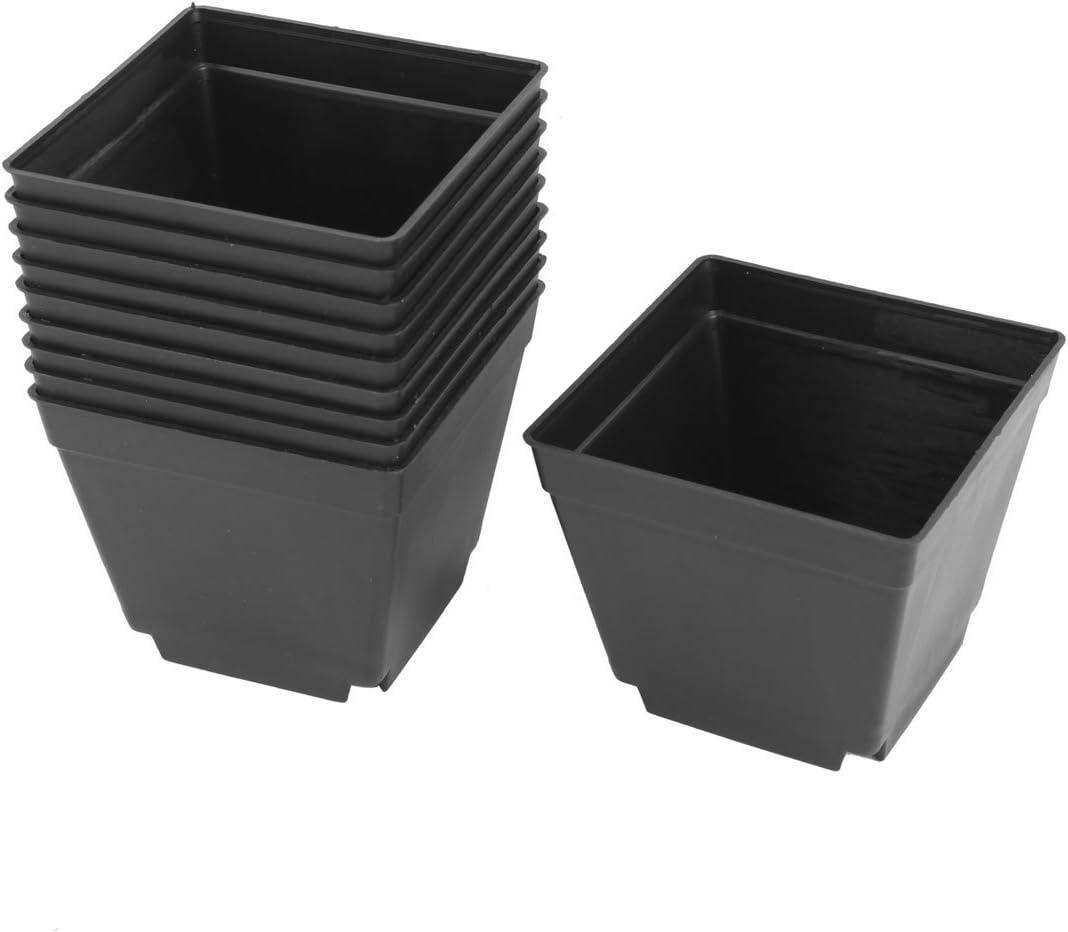 sourcing map Maceta Cubeta Cubo Hueco De Plástico En Forma Cuadradas Con Soporte Para La Oficina Hogar Hoteles De 4 X 4 Pulgada 10 Piezas Negro