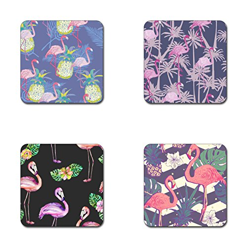 (Blush pink flamingo pattern square coaster set - Made of recycled rubber - set of 4)