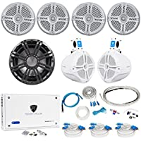 4) Rockville RMSTS65S 6.5 1600w Marine Boat Speakers+8 Wakeboards+Amp+Wire Kit