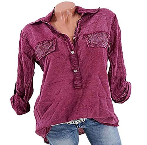Tops Haut JackenLOVE Revers et Rose Chemisiers T Automne Casual Mode Longues Femmes Lache Manches Shirt Shirt Blouses Rouge Printemps w4wqABnP
